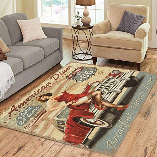 Semtomn Area Rug 5' X 7' Retro Diner Route 66 Vintage 1950S Car 1960S 1970S Home Decor Collection Floor Rugs Carpet for Living Room Bedroom Dining Room