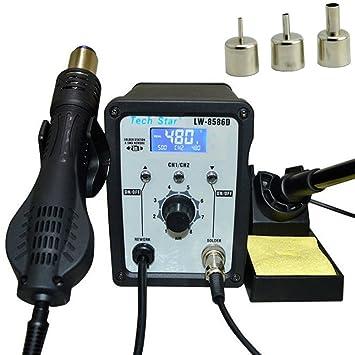 Dobo® - SMD Work Station Estación de soldadura y desoldadura con aire caliente profesional, set completo con ajuste digital y manual de instrucciones en ...