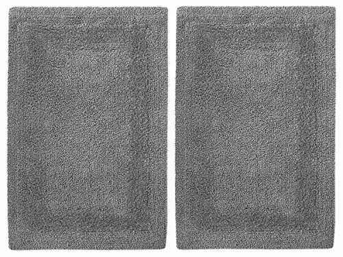 2 Piece Reversible Step Out Bath Mat Rug Set 100% Pure Cotton Soft & Absorbent.
