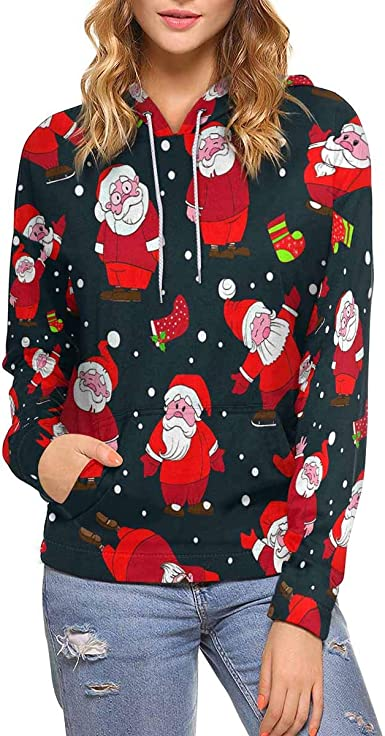 XS-XL INTERESTPRINT Christmas Snowman and Santa Claus Kids T-Shirt