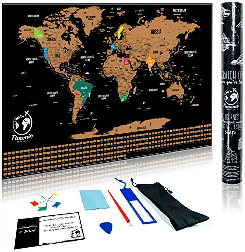 Travel Journal Kit (Scratch Off World Map Poster with Scratching Pen, Guitar Pick, Magnifier, Cleaning Cloth and 5 Pin Flags Set – Scratch-Off World Travel Journal that Includes the US States and World Capitals)