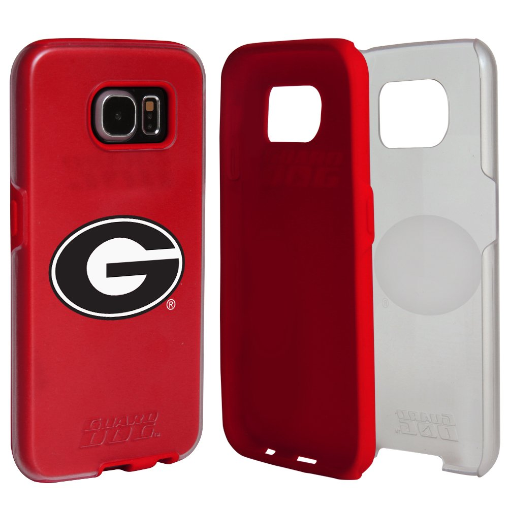 Georgia Bulldogs Clear Hybrid Case for Samsung Galaxy S7 with Red Insert and Guard Glass Screen Protector