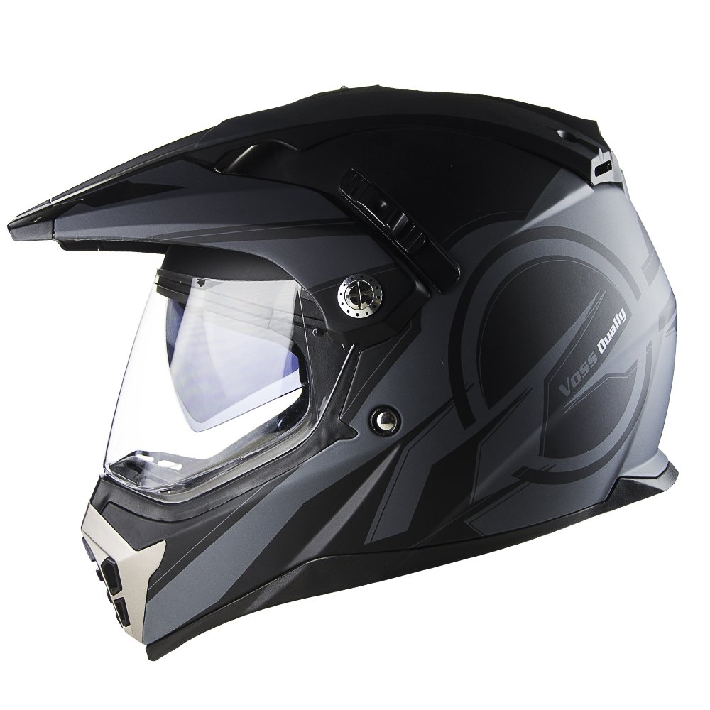 Voss 600 Dually Matte Black Reaction Dual Sport Helmet with Integrated Sun Lens and Removable Peak and Smoke Outer Face Shield also Included DOT - L - Matte Black Reaction
