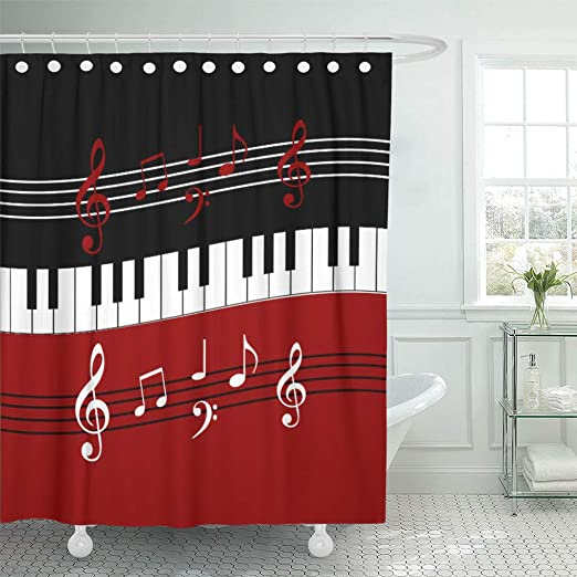 Amazon Com Semtomn Shower Curtain Music Red Black Piano Keys And Notes Musician Musical 72 X72 Home Decor Waterproof Bath Bathroom Curtains Set With Hooks Home Kitchen