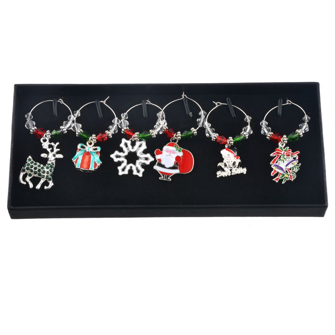 Souarts Mixed 6pcs Glass Charms Marker Tags Set with Gift Box Christmas Father Elk Snowflake Gift Bell Pendants