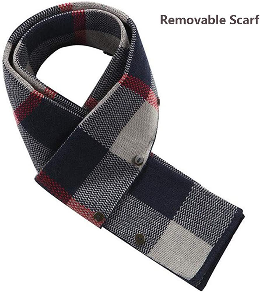 WULFUL Men/'s Wool Trench Coat Winter Slim Fit Pea Coat with Free Removable Plaid Scarf