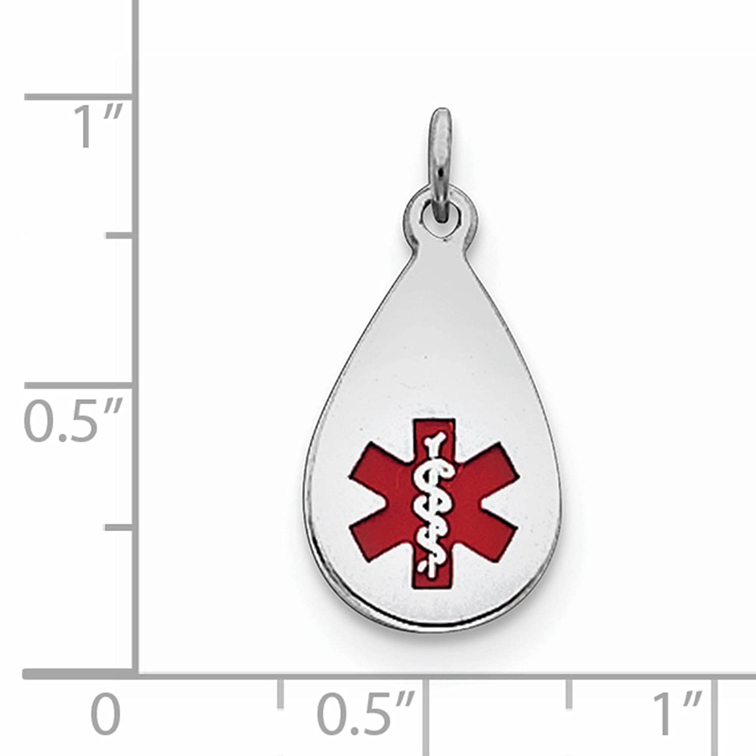 925 Sterling Silver Rhodium-plated Engraveable Enameled Medical Jewelry Pendant