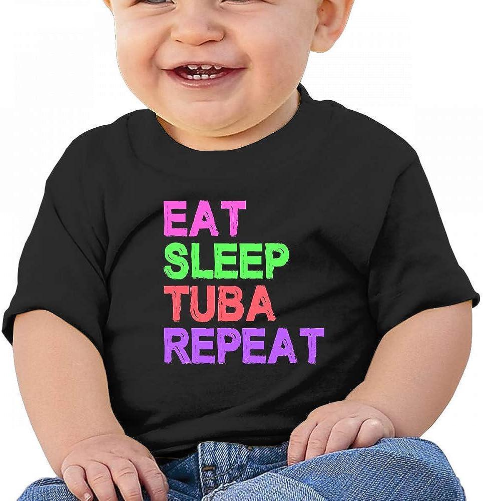 HTUAEUEHRH Eat Sleep Tuba Repeat Gifts Baby Boys Toddler Short Sleeve T-Shirts Tees