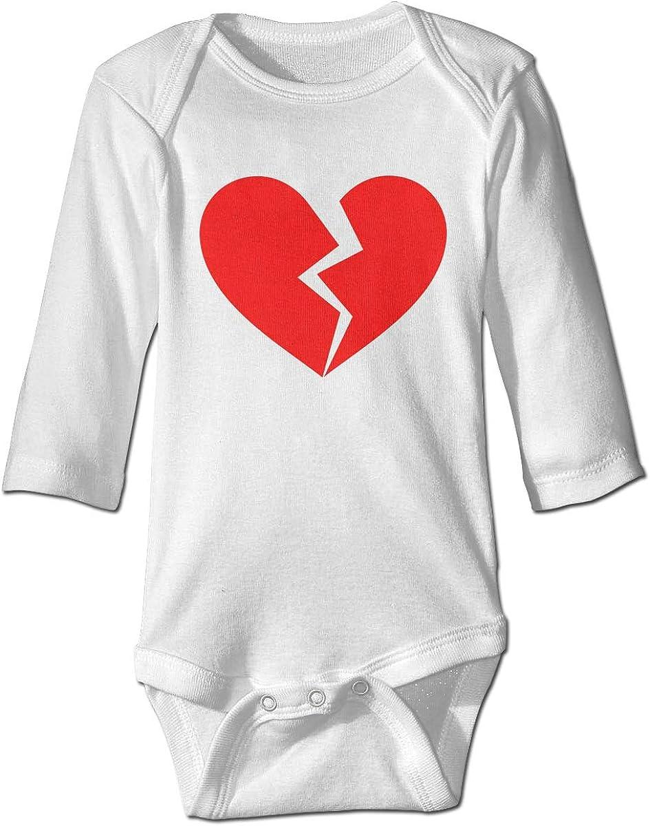 Marsherun Baby Boys Girls Heart Broken Long Sleeve Climbing Bodysuits Playsuits