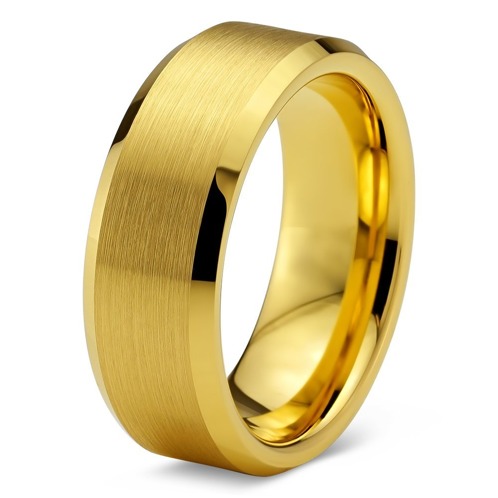 Tungsten Wedding Band Ring 8mm 6mm for Men Women Comfort Fit Brushed Yellow Beveled Edge Brushed Yellow Exterior FREE Custom Laser Engraving Lifetime Guarantee