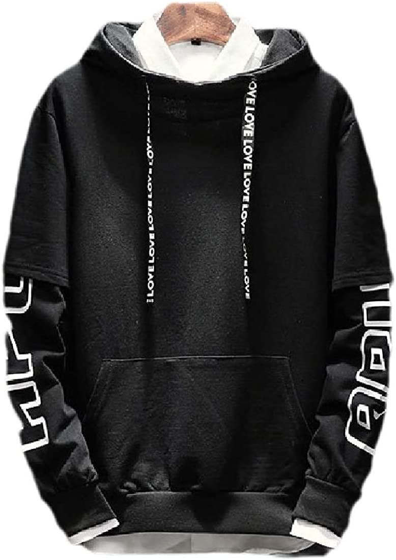 yibiyuan Mens Sweatshirt Hoodies Fake Two Pieces Pullover Contrast Color Cotton Casual Stitching Pullover