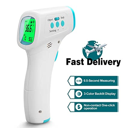 Infants Forehead Thermometer Adults Non-Contact Digital Thermometer with LCD Display Accurate Infrared Thermometer for Baby Surface of Objects Digital Infrared Forehead Thermometer Blue