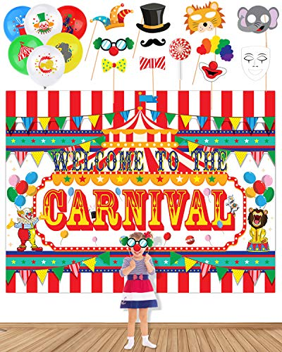 Carnival Party Supplies And Circus Carnival Banner Backdrop, 20 Carnival Balloons 11 Carnival Photo Booth Props For Circus Carnival Party Decorations -