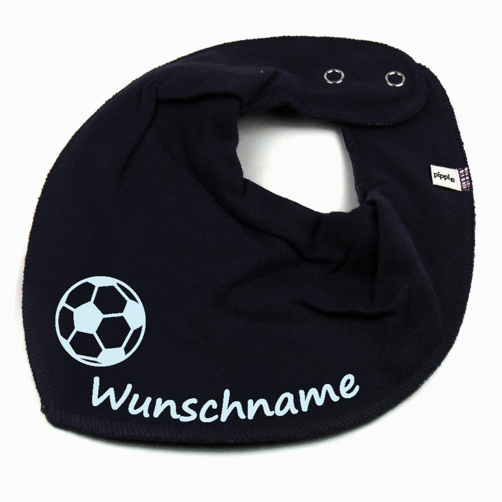 HALSTUCH Fu/ßball mit Namen oder Text personalisiert dunkelblau f/ür Baby oder Kind