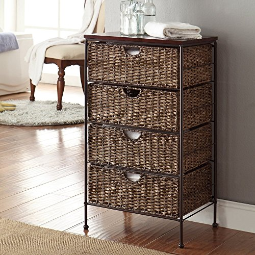 4 Maize Weave Drawer Chest (Wood Drawers And Wicker)