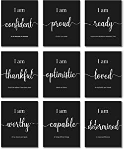 9 Pieces Inspirational Motivational Wall Art Office Bedroom Wall Art, Daily Positive Affirmations for Men Women Kids Inspirational Posters Inspirational Positive Quotes Sayings Wall Decor (Black)