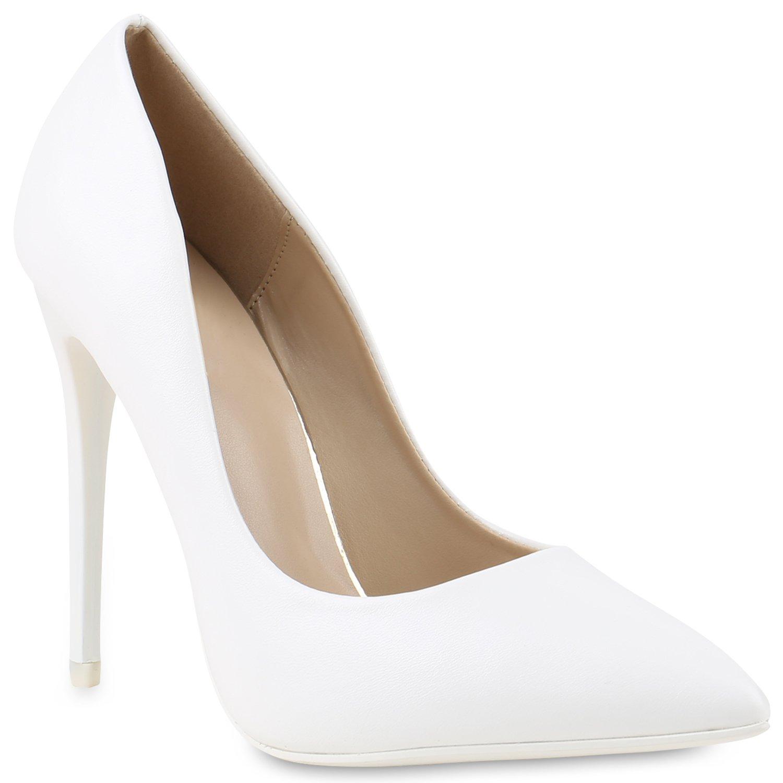 Stiefelparadies Damen Spitze Pumps mit Pfennigabsatz Lack Nieten Flandell Weiß