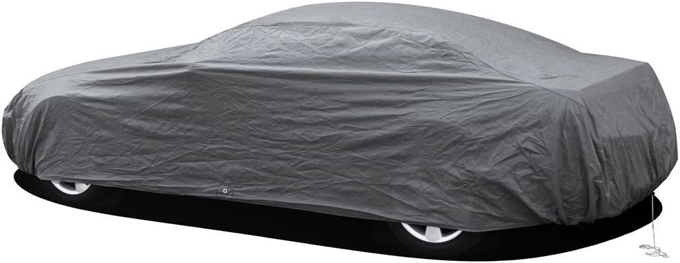OxGord Car Cover 1 Layer RainDustSand Exterior Protector Ready-Fit Semi Glove Fit Gray Fits up to 204 Inches