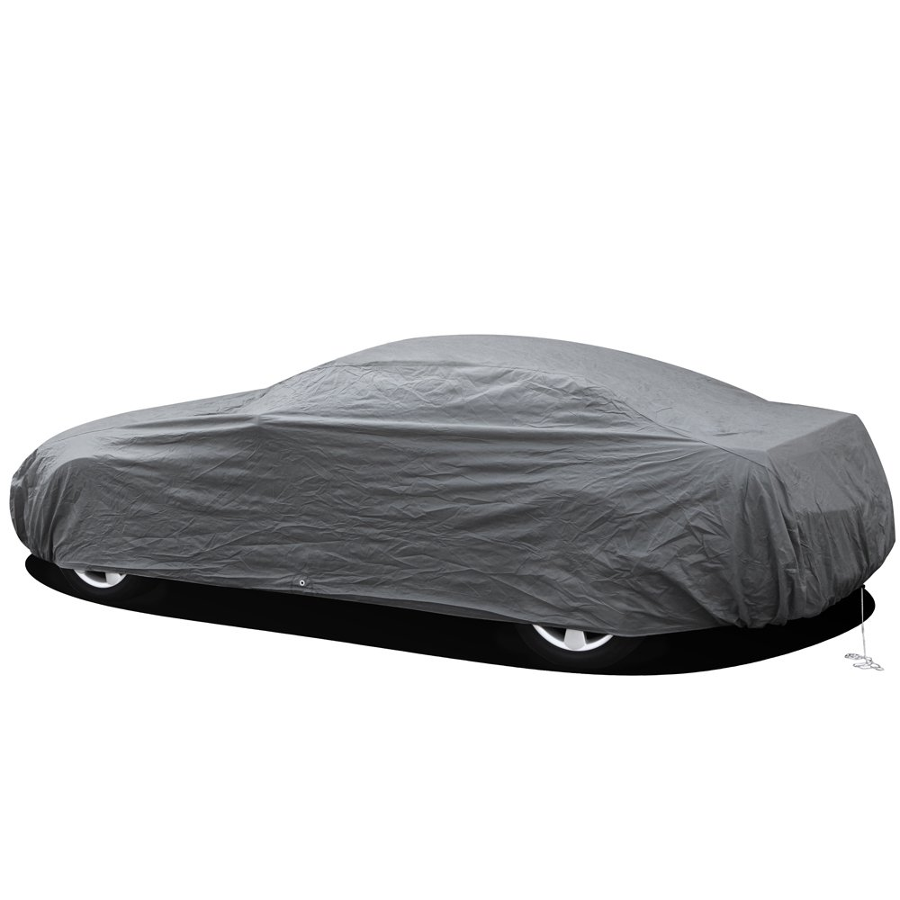 OxGord Car Cover - 1 Layer RainDustSand Exterior Protector Compatible with Mustang/Camry - Ready-Fit Semi Glove Fit - Gray Fits up to 204 Inches