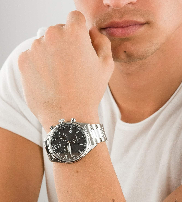 Timex Montre Homme Chronographe Waterbury Bracelet en Acier Inoxydable Argent/Noir