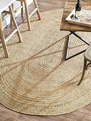 nuLOOM 100-Percent Jute Hand Woven Rigo Jute Area Rug, 3-Feet by 5-Feet Oval, Natural