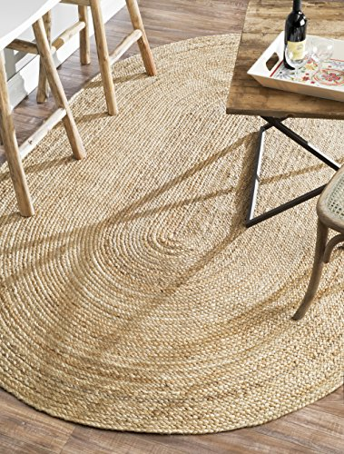 nuLOOM Hand Woven Casual Jute Braided Area Rug, Natural, 4' x 6' Oval