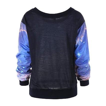 SRYSHKR Women Skew Neck 3D Printed Sweatshirt Jumper Pullover Tops Blouse at Amazon Womens Clothing store: