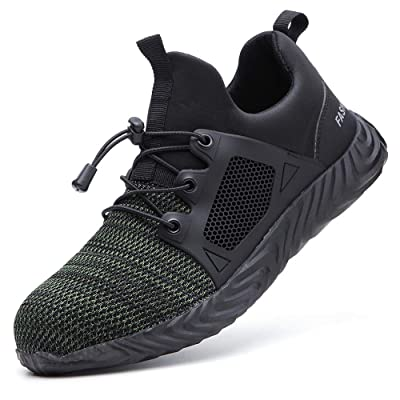 FANGSN Men Steel Toe Work Shoes, Lightweight Fashion Sports Safety Shoes Steel Toe Womens Shoes Indestructible Shoes: Shoes