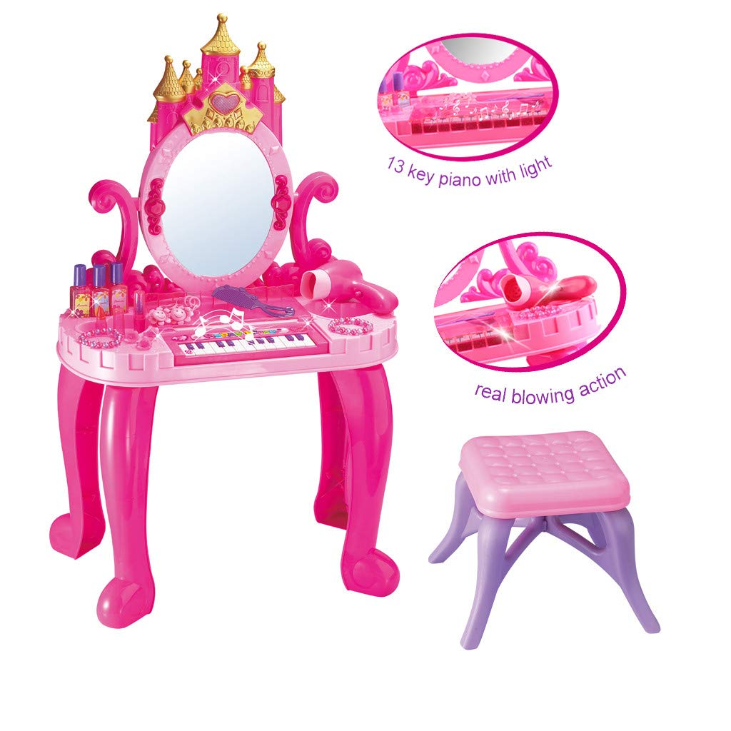 YOMXL Pretend Play Kids Vanity Table and Chair Beauty Play Set with Fashion & Makeup Accessories for Girls (Ship from US) by YOMXL