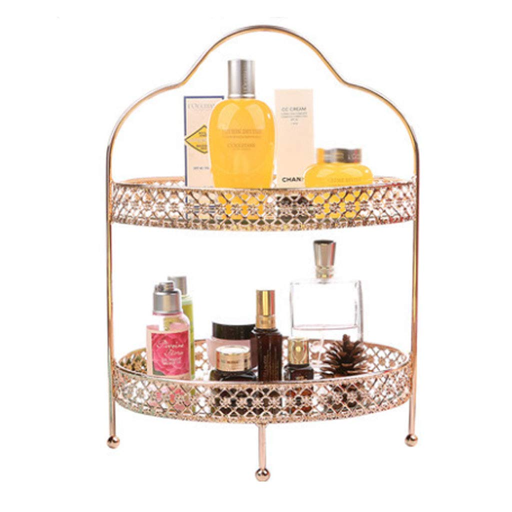 Cosmetic Display Cases Cosmetic Storage Box Girl's Favorite Gift Modern Metal Plated 2 Layer Glass Mirror Jewelry Rack Lipstick Perfume Storage Box Dressing Table Makeup Skin Care Bathroom Tray Cases