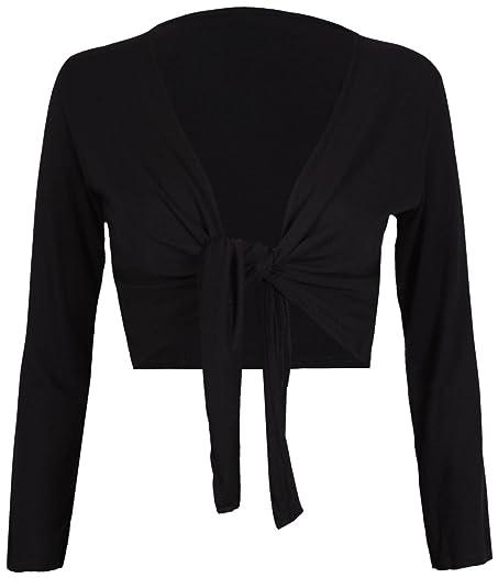 PurpleHanger Women's Long Sleeve Bolero Crop Cardigan Tie Shrug at ...
