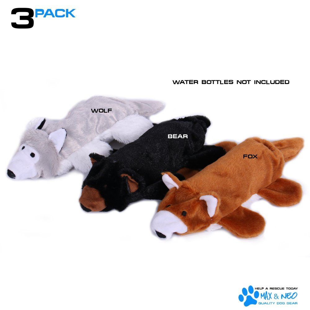 Max and Neo Fox, Bear and Wolf Water Bottle Dog Toys - 3 Pack - We Donate a Toy to a Dog Rescue for Every Toy Sold (Fox, Bear and Wolf)