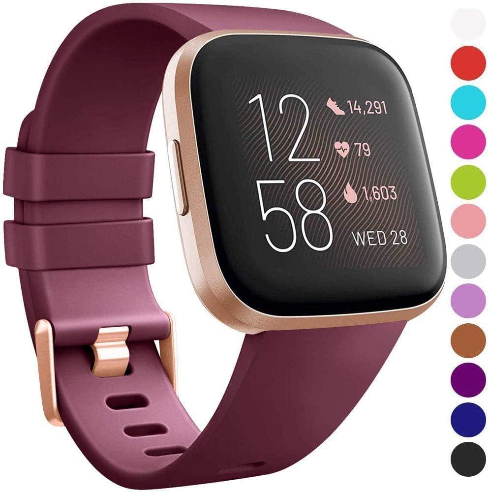 LouisRach pour Bracelet Fitbit Versa Bracelet//Fitbit Versa 2 Bracelet,Classique R/églable Bracelet avec en Aluminium Boucle en Alliage pour Fitbit Versa//Versa 2//Versa Lite,Grand Petit,Femme Homme