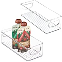 mDesign Kitchen Fridge Cabinet Pantry Storage Organizer Bins for Food Pouches - Pack of 2 10 x 4 x 3 Clear