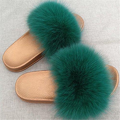 Souples de MSFS Tongues Glisser Green Open Faire Toe pour Pantoufles Multicolore Sandales Plume Femmes Fourrure xx7T8
