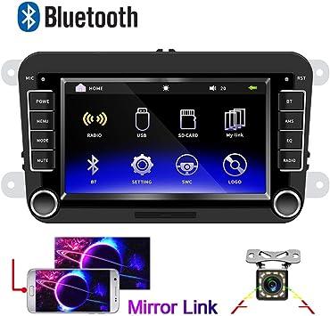 Radio de Coche para VW CAMECHO Pantalla táctil capacitiva de 7 Pulgadas Bluetooth Estéreo de Coche FM Radio Duplicar Pantalla USB para Golf Touran Jetta Polo Asiento Sharan: Amazon.es: Electrónica