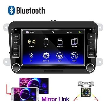 Radio de Coche para VW CAMECHO Pantalla táctil capacitiva de 7 Pulgadas Bluetooth Estéreo de Coche FM Radio Duplicar Pantalla USB para Golf Touran ...