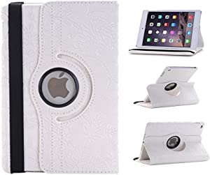 TCD - Apple iPad 2 3 4, 2nd 3rd 4th Generation Floral Embossed Flower Rotating Leather Kickstand Case Cover with Auto Wake and Sleep Feature - White