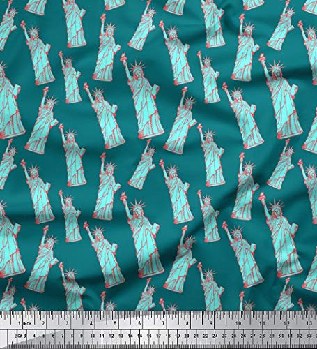 Soimoi 44 Inches Wide Pure Silk Fabric Statue of Liberty Architectural Print by The Yard - Teal - Scarves Silk Liberty