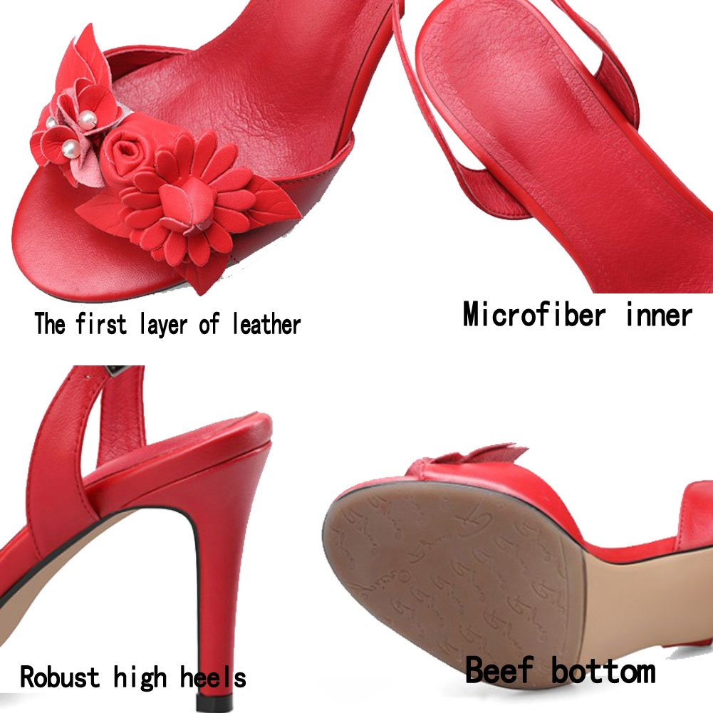 ZLIDS Frau Sommer Sandalen Mode Stereo Blume Blume Blume Leder Round Toe Stiletto Dance Party Schuhe Weiß Schwarz Rot ROT 0980f2