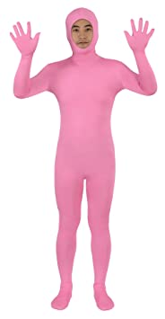 Sheface Spandex Open Face Zentai Suit Halloween Costumes (Large, Pink)