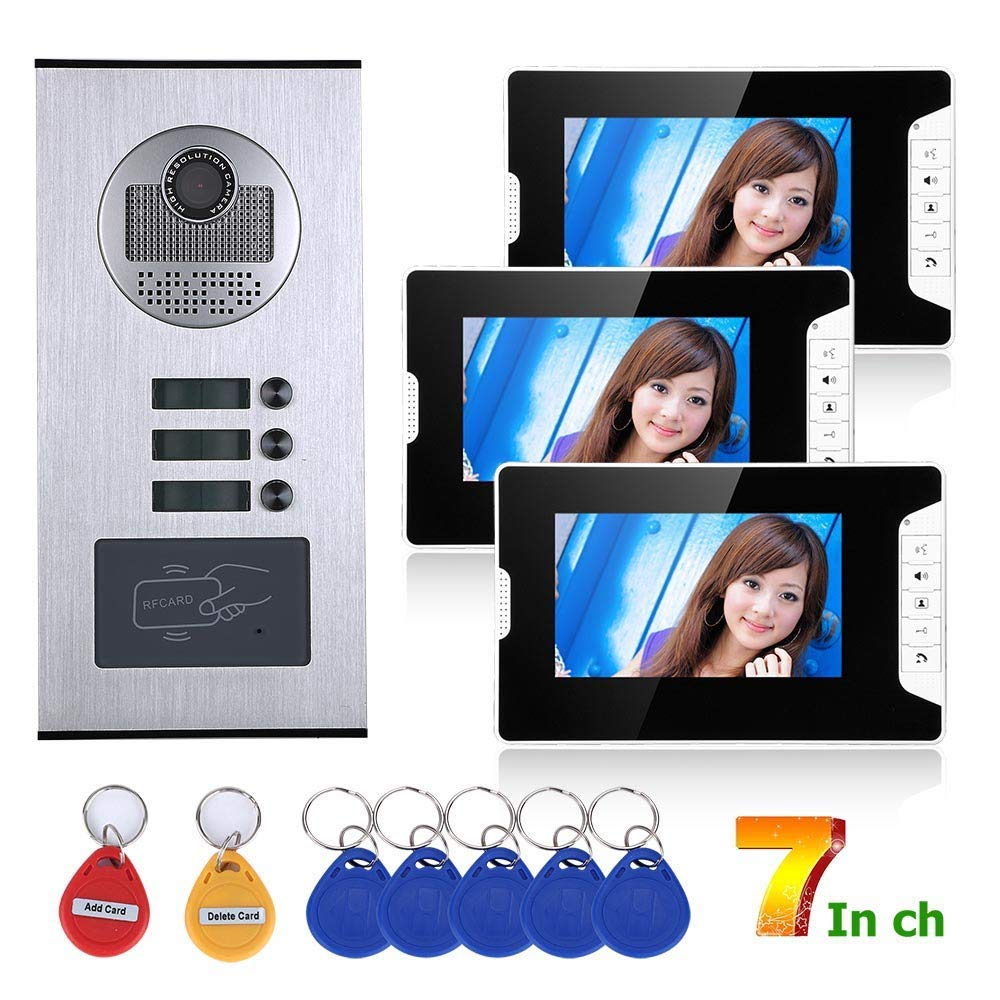 7-Inch Video Doorbell Intercom System, RFID 3 Apartment Home Waterproof Access Control System, IR-Cut HD 1000TVL Camera with 3 Button   3 Display