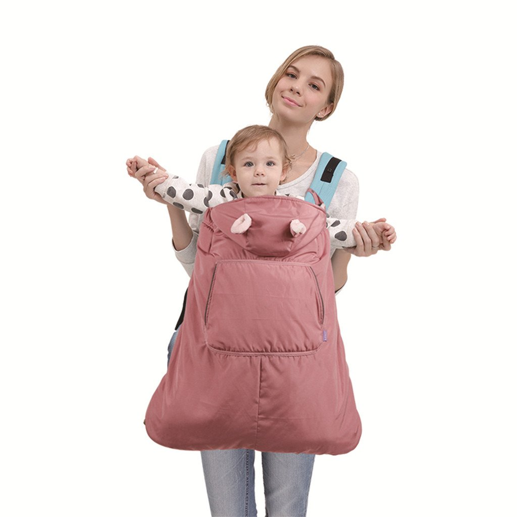 Baby Carrier Cover Waterproof Winter Hooded Windproof Cloak Pocket Front, Red Huizhou Weiyitian Trading CO. Ltd