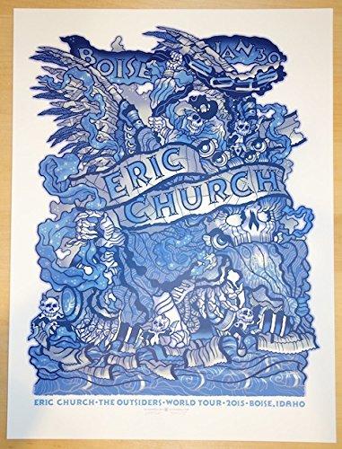 2015 Eric Church - Boise Silkscreen Concert Poster by Guy Burwell