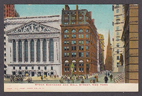 (Stock Exchange & Wall Street New York NY glitter undivided back postcard 1900s)
