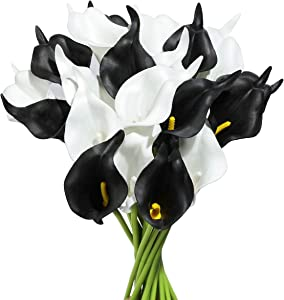 Tifuly 24pcs Calla Lily Bridal Wedding Bouquet Latex Real Touch Artificial Flowers Arrangement for Home Office Party Decor(Black and White)