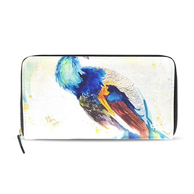 3370294fb0bb Watercolor Beautiful Peacock Genuine Leather Wallet Case Credit Card ...
