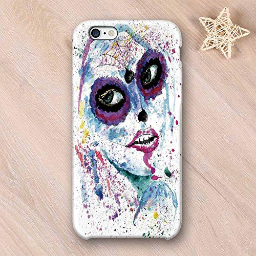 Girls Wear Resisting Compatible with iPhone Case,Grunge Halloween Lady with Sugar Skull Make Up Creepy Dead Face Gothic Woman Artsy Compatible with iPhone 7/8,iPhone 6/6s ()