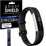 Fitbit Alta HR Screen protectors, [Pack of 4] TECHGEAR® Fitbit Alta HR [ghostSHIELD Edition] Genuine Reinforced Flexible TPU Screen Protector Guard Covers with FULL Screen Coverage - for Fitbit Alta HR Heart Rate & Fitness Wristband