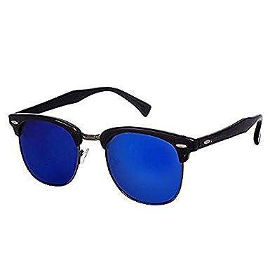b398e5579e Dervin Black Frame Blue Lens Club Master Wayfarer Sunglasses for Men   Women   Amazon.in  Clothing   Accessories